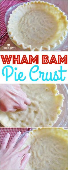 Wham Bam Pie Crust recipe from The Country Cook. No rolling, no cold butter, no crazy ingredients! Simple and it bakes up flaky and tender!