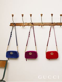 Crafted in chevron velvet, a look at new GG Marmont shoulder bags with Double G hardware.