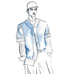 Preview of the Louis Vuitton Men's Fall-Winter 2017 Collection. Illustration by American artist Gordon Flores.