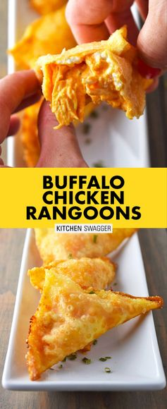 Buffalo chicken rangoons are a twist on the classic crab rangoon. Buffalo sauce, shredded chicken and cream cheese fried together in a crispy golden wonton.