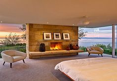 Fireplace in the bedroom.