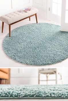 Round rugs, which also go by the name of circular rugs, are a great way to define an area. They can be used for a single chair, a pair of chairs around the edge, in a nursery, or in an entryway. #ModernRugs #ModernBlueRugs #ModernRoundRug #BlueRoundRug #BlueRug