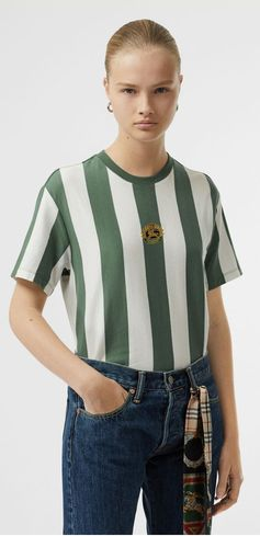A #Burberry cotton T-shirt updated with bold vertical stripes and an embroidered Burberry crest