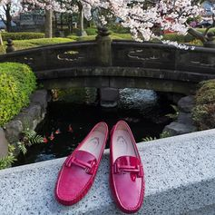 Happy holidays to you all!  Welcoming spring in the shade of a cherry blossom tree: the new Tod's Gommino shot by Stefano Guindani. #sakura #cherryblossom #TodsGommino