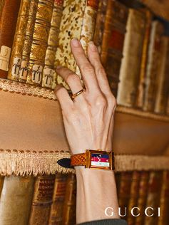 For Time To Parr, Gucci commissioned British photographer Martin Parr to capture the House's timepieces around the world. Rome's Biblioteca Angelica— one of the Gucci Places—was the first public library in Europe. Gucci's G-Frame watch is photographed next to leather bound books in the vaulted reading room completed in 1765.