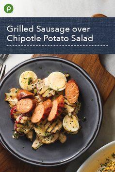 Grilled Sausage over Chipotle Potato Salad