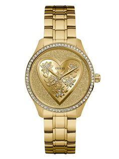 Gold-Tone Glitter Heart Watch