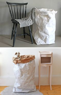 Storage Ideas - These modern washable paper bags are hard wearing, flexible, can be handwashed, environmentally friendly, and can be used as planters, bathroom storage, laundry hampers, bathroom baskets, and as toy bins. #StorageIdeas #WashablePaperBag #PaperBag #StorageBins #LaundryHamper #BathroomStorage #ModernDecor