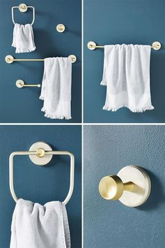Modern metallic bathroom hardware that combines brass and silver finishes.