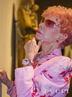 For Time To Parr, Gucci commissioned British photographer Martin Parr to capture the House's timepieces around the world. Gucci's Le Marché Des Merveilles watch is seen on the wrist of a visitor at the Los Angeles County Museum of Art, one of the Gucci Places. The photographer's characteristic use of bright flash highlights the watch's pastel pink palette and floral motif.