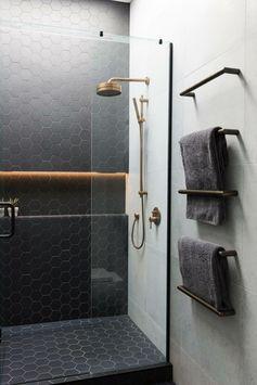 Black frame around glass shower door