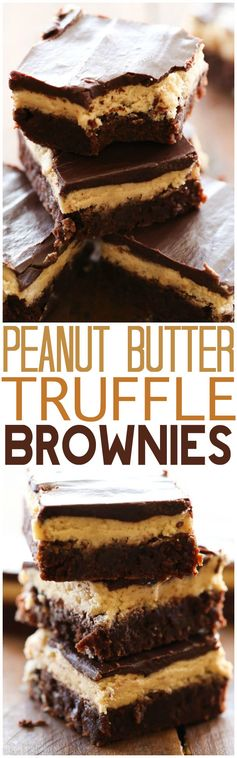 Peanut Butter Truffle Brownies... OH MY GOSH! These are INCREDIBLE! Layers of fudgy brownie, soft peanut butter truffle and chocolate ganache combine to make one unforgettable dessert!