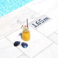 Monday morning juice by the pool for Lydia Elise Millen & her Folli Follie sunglasses (July 2016).