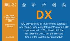 Gli investimenti aziendali in tecnologie per la #digitaltransformation (DX) supereranno a livello mondiale i 1.200 miliardi di dollari nel 2017 e cresceranno fino a oltre 2.000 miliardi nel 2020