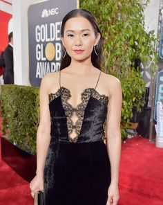 Attending the 75th annual @GoldenGlobes Awards for her nomination as Best Supporting Actress in the film 'Downsizing,' #HongChau wears a custom velvet dress in the colour black in support of the @TimesUpNow movement. Honouring and supporting women who have been subjected to abuse, sexual harassment or assault in the workplace, we are proud to stand with #TIMESUP movement and the fight for gender equality.  #GoldenGlobes #StellaMcCartney