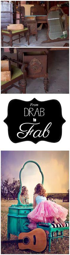 From DRAB to FAB: Revamped Vanity #vanity #diy #refurbish