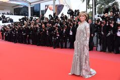 Jane Fonda showed off her incredible figure on the Cannes Film Festival 'BlacKKKlansman' red carpet. The actress stepped out wearing 'Irene C.', a mesh cardigan and dress embroidered with bronze and mini sequins flowers from the Valentino Haute Couture Spring/Summer 2018 Collection designed by Pierpaolo Piccioli. #Cannes2018