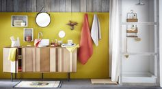 Salle de bain into the woods #zodio #salledebain #wood #colours #yellow