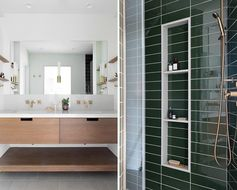 This modern master bathroom has a custom-designed double vanity with a concrete-like quartz countertop and backsplash. Color was added in the shower with the use of green subway tile and brass fixtures. #MasterBathroom #BrassFixtures #GreenSubwayTiles #DoubleVanity #ModernBathroom