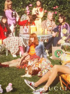 On set with the Gucci capsule collection for Chinese New Year photographed by Petra Collins. The whimsical dog motifs of Orso and Bosco, which appear on bags, knits, a bomber jacket and denim were inspired by a pillow artist Helen Downie, AKA Unskilled Worker, gave as a gift to Alessandro Michele, which featured an illustration of his pets. Creative director: Alessandro Michele  Art director: Christopher Simmonds
