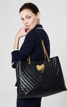 Large Leather Heart Tote Bag
