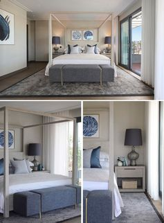 A bedroom with a four-poster bed and navy blue accents.