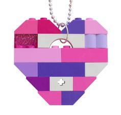 Kawaii Pink and Purple necklace - Chunky heart pendant - made from LEGO® bricks on a 24 Silver/Gold plated ballchain* - Harajuku - Cosplay or Collectible heart (Single thickness) Model 10 - made from LEGO® bricks on a 24 Silver/Gold plated ballchain* Length of the ballchain easily reducible * If you