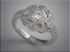 14K white gold diamond ring open design with vintage style