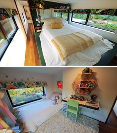 This tiny house has two bedrooms with plenty of room, and windows that look out onto green roofs.