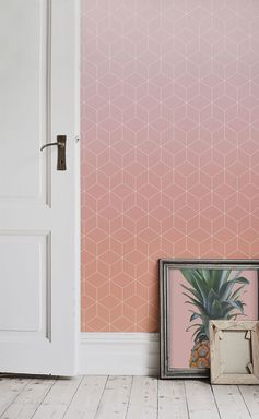 Hallway spaces can be fun too! This tile ombre wallpaper captures the beauty of sunset skies