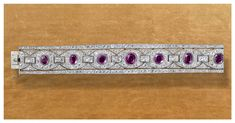 "Bracelet with seven rubies  Marcel Chaumet, 1930-1940 Platinum, rubies and diamonds  Chaumet Paris  - Discover the unprecedented Chaumet exhibition, ""Imperial Splendours"", at the Palace Museum of Beijing."