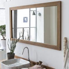 Miroir Milano Teck 140x70 Un grand miroir en teck pour les meubles double vasque