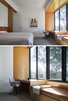 A modern bedroom with a built-in desk and window seat.