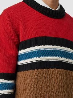 A #Burberry chunky sweater in contrasting tones and textured knits made from wool and cashmere at a Scottish mill