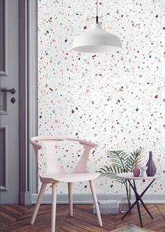Inspiration // terrazzo Papermint papier peint Parquet ancien à chevrons
