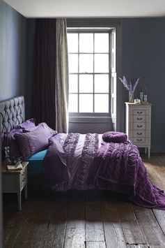 Love your bedding in this gorgeous purple #home #duvet #purple #home #bedding