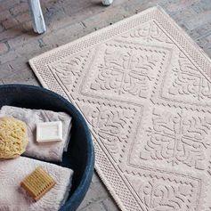 Tapis de bain en coton sable ou olive Nepal Aquanova : Decoclico