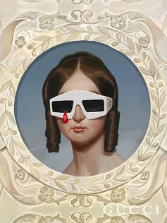 For the Gucci Hallucination campaign, Ignasi Monreal imagines paintings that feature imagery from classic artworks with characters wearing the Gucci Spring Summer 2018 campaign. Seen here, a pair of rectangular frames with a red teardrop detail with a crystal.  Creative Director: Alessandro Michele Art Director: Christopher Simmonds
