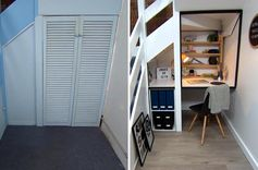 Before And After – Unused Space Under The Stairs Transformed Into Children's Homework Station