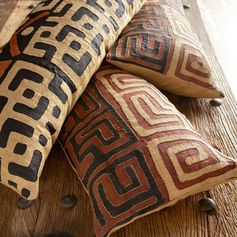 Natural Dyed Kuba cloth lumbar pillows