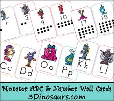 Free Monster ABC & Number Wall Cards from 3 Dinosaurs