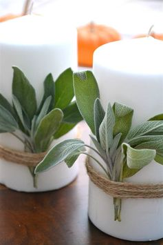 Thanksgiving Sage-Wrapped Candles
