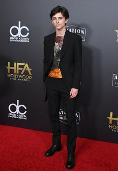 Timothée Chalamet wearing a suit and embroidered from the Louis Vuitton Spring Summer 2019 Collection by Virgil Abloh. At the Hollywood Film Awards, on November 4th, 2018, in Los Angeles.