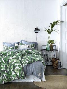 ellos,kevät sisustus makuuhuone,sisustus,pussilakana,pussilakanat,pussilakanasetti,pussilakanasetit,tyynyliina,tyynyliinat,helmalakana,helmalakanat,lehtikuvio,puuvilla,makuuhuone,kesä,kesäsisustus