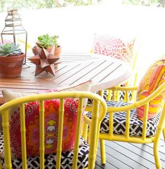yellow outside dining chairs