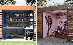 A modern backyard shed with a potting room and bike storage.