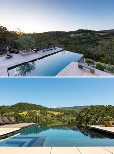 This modern house has a swimming pool with an infinity edge that overlooks the valley. #SwimmingPool #OutdoorSpace