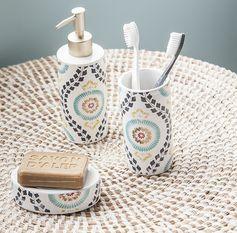 Accessoires de salle de bain - Idées déco #zodio #sdb #détails #décoration #ambiance #mosaique