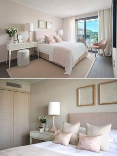 A bedroom with rose pink accents.