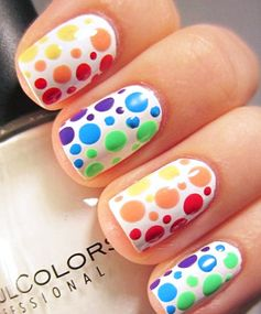 Rainbow Nails: Pretty in Polka Dots